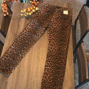 Zara cheetah denim pants